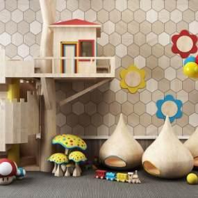 现代儿童玩具树屋组合3D模型【ID:335765492】
