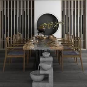 新中式休闲泡茶桌椅组合 3D模型【ID:841376937】