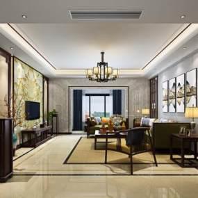 新中式客厅3D模型【ID:542552062】