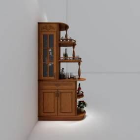 美式实木酒柜屏风3D模型【ID:632855237】