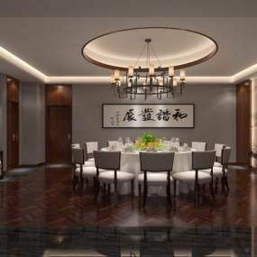 新中式餐厅包厢 3D模型【ID:642168852】