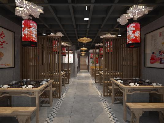 新中式火鍋店餐廳3D模型【ID:649461534】