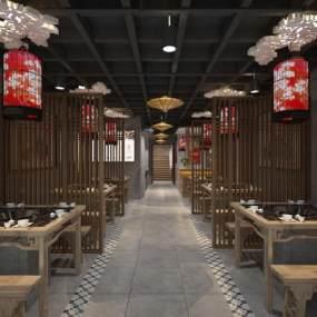 新中式火锅店餐厅3D模型【ID:649461534】