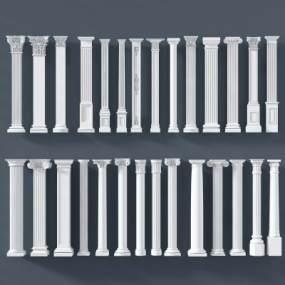 欧式罗马柱雕花柱立柱柱子圆柱3D模型【ID:330635450】
