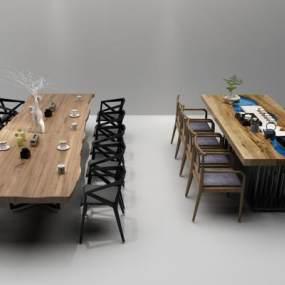 新中式茶桌休闲桌椅3D模型【ID:930743584】