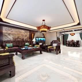 新中式复式客餐厅3D模型【ID:543414098】