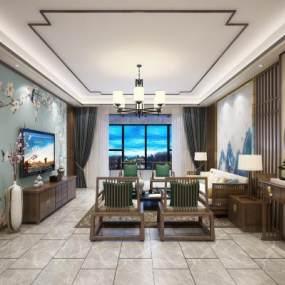 新中式客厅3D模型【ID:534758079】