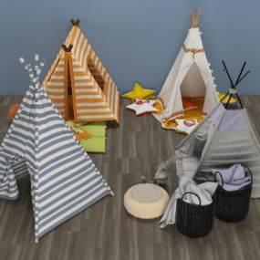 现代儿童帐篷床3D模型【ID:331217713】
