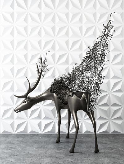 现代抽象铁艺鹿装饰摆件3D模型【ID:342153035】
