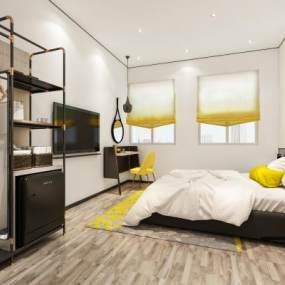 现代风格酒店客房3D模型【ID:743569317】