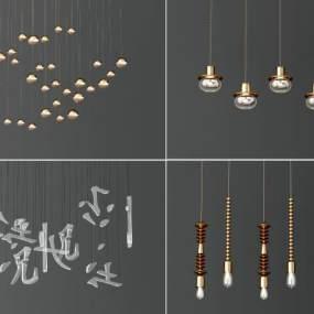 現代吊燈組合3D模型【ID:747761831】