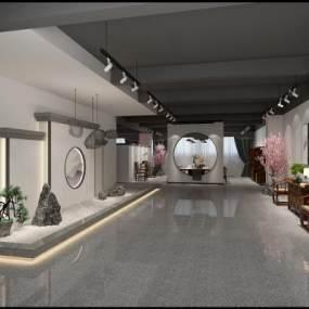 新中式家具展廳大堂3D模型【ID:946535725】
