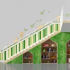 现代楼梯储藏柜3D模型【ID:344360557】
