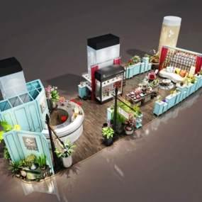 现代开敞式花店3D模型【ID:944551896】
