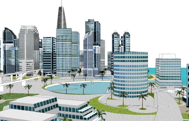 现代规划建筑景观SU模型【ID:351675263】