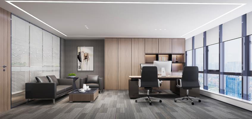 现代总经理办公室3D模型【ID:954014041】