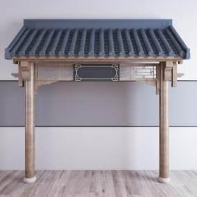 新中式屋顶屋檐门头3D模型【ID:353351477】