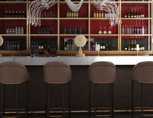 现代吧台椅酒柜组合3D模型【ID:841060086】
