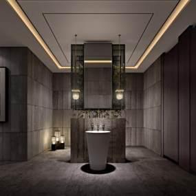 新中式酒店卫生间3D模型【ID:434500161】