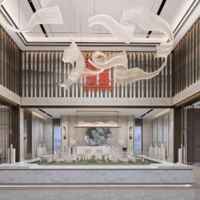 新中式售楼处吊灯接待区等候区3D模型【ID:942380618】
