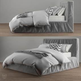 现代双人床3D模型【ID:832716708】