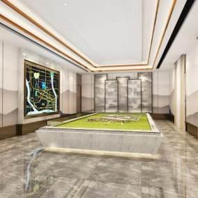 现代沙盘展厅3D模型【ID:949235656】