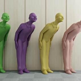 现代人物雕塑3D模型【ID:333294112】