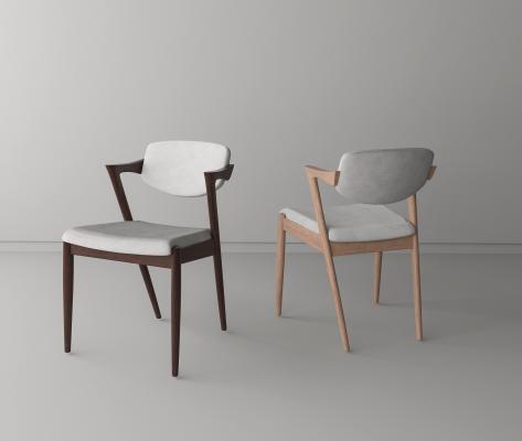 日式实木餐椅3D模型【ID:746341113】