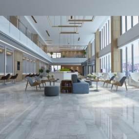 现代办公大厅3D模型【ID:944418691】