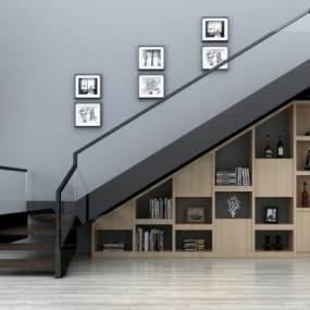 现代楼梯扶手装饰画装饰柜组合3D模型【ID:330572587】