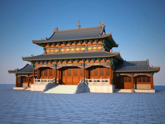 中式古建大殿3D模型【ID:141421909】