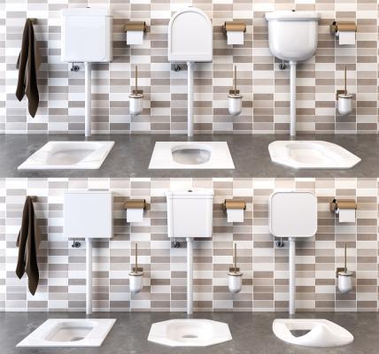 衛生間蹲廁便池蹲便器沖水箱組合3D模型【ID:643877458】