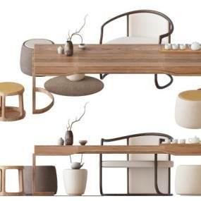 新中式茶桌組合 3D模型【ID:841641927】