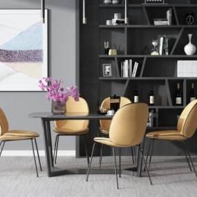现代餐桌椅组合3D模型【ID:837616838】