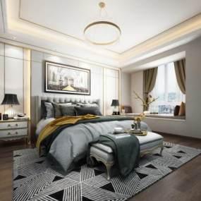 簡歐輕奢臥室3D模型【ID:546530208】