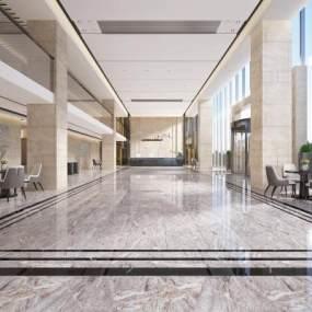 现代办公接待大厅大堂前台3D模型【ID:935649245】