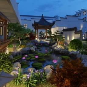 新中式庭院景观3D模型【ID:145598422】