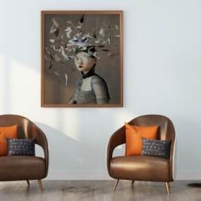 现代单人沙发3D模型【ID:635804493】