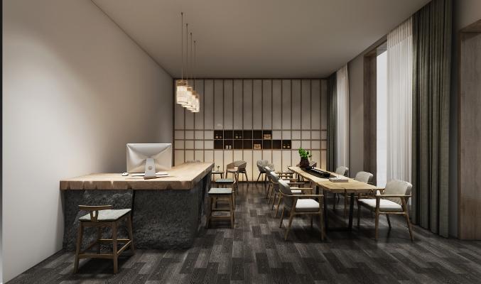 中式茶室空间3D模型【ID:641801639】