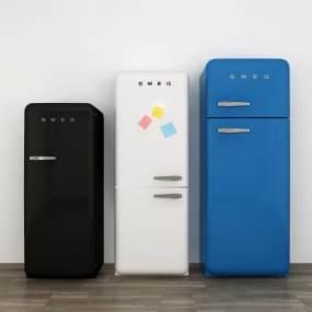 北欧现代冰箱组合3D模型【ID:243545676】