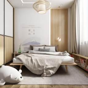 日式卧室3D模型【ID:545544285】