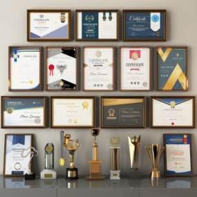 现代奖状奖杯奖牌荣誉证书3D模型【ID:236008518】