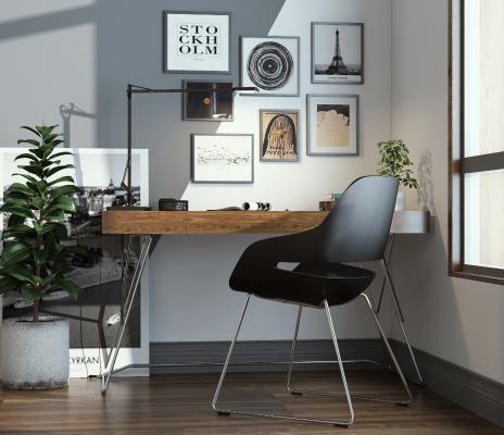 现代电脑桌装饰画3D模型【ID:732925427】