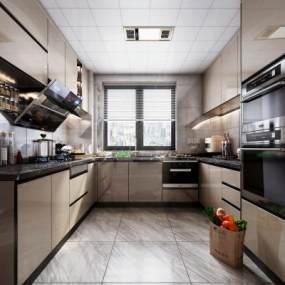 現代風格廚房櫥柜3D模型【ID:548082361】