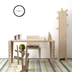 北欧创意书桌椅组合3D模型【ID:935830023】