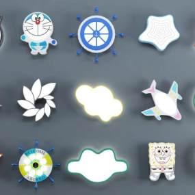 现代儿童卡通吸顶灯组合3D模型【ID:831617005】