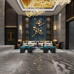 新中式休息大厅 3D模型【ID:741801099】