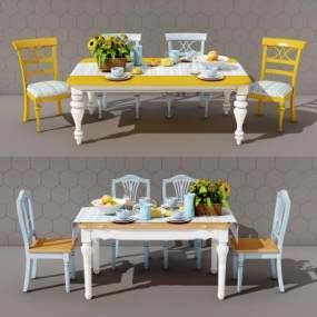 地中海餐桌椅组合3D模型【ID:730425104】