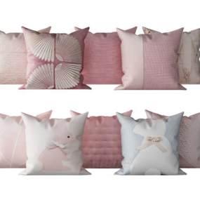 現代兒童房粉色抱枕組合3D模型【ID:246110516】