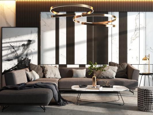 現代沙發裝飾畫吊燈組合3D模型【ID:648383715】